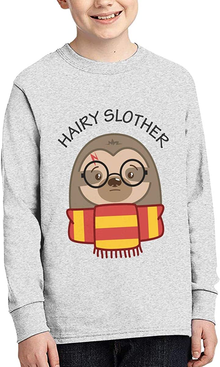 Hairy Slother Sloth Youth Long Sleeve Moisture Wicking Athletic T Shirts Casual Tee Graphic Tops for Teen Boys Girls