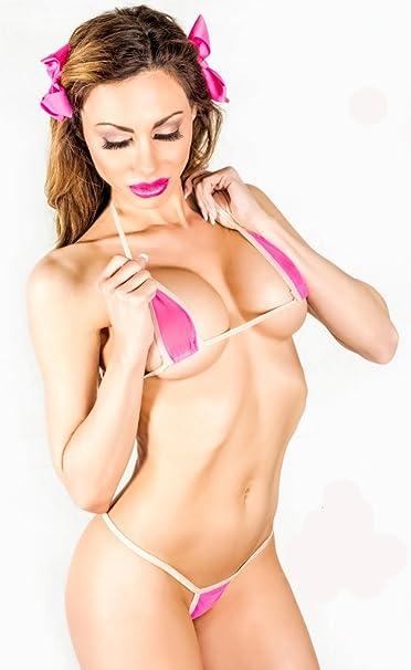 32fba9f0867b Image Unavailable. Image not available for. Color: Bitsy's Bikinis Neon Pink  Mesh Micro G-String Bikini 2pc Mini ...