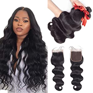 Brazilian Human Hair Body Wave 3 Bundles with Closure (20 22 24 + 20 Inch), Ladoux 7A Remy Human Hair Bundels with Lace Closure Free Part Natural Black Body-Wave-Bundles-with-Closure