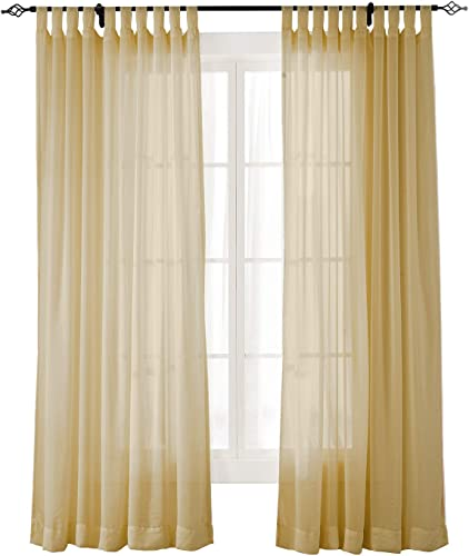 Deal of the week: ChadMade Indoor Outdoor Solid Sheer Curtain Tab Top Khaki 150″ W X 102″ L Wide Opulent Voile Drapes 1 Panel
