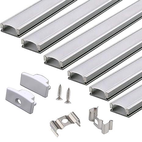PAQUETE DE 6 1M/3.3pies Canal de Aluminio LED para Tiras de Luces LED