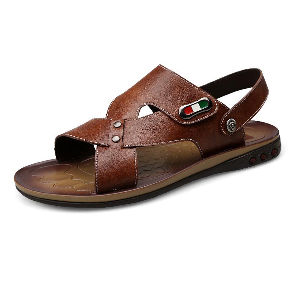 Zapatillas de Playa de Cuero de Vaca Genuino de los Hombres Zapatillas de Deporte Sandalias Antideslizantes Ajustables sin Respaldo,para los Hombres 41 EU|Brown
