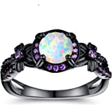 OPALTOP Black Gun Plated White Fire Opal Rings Created Amethyst Promise Engagement Rings Band for Women Girls (Size 5-10…
