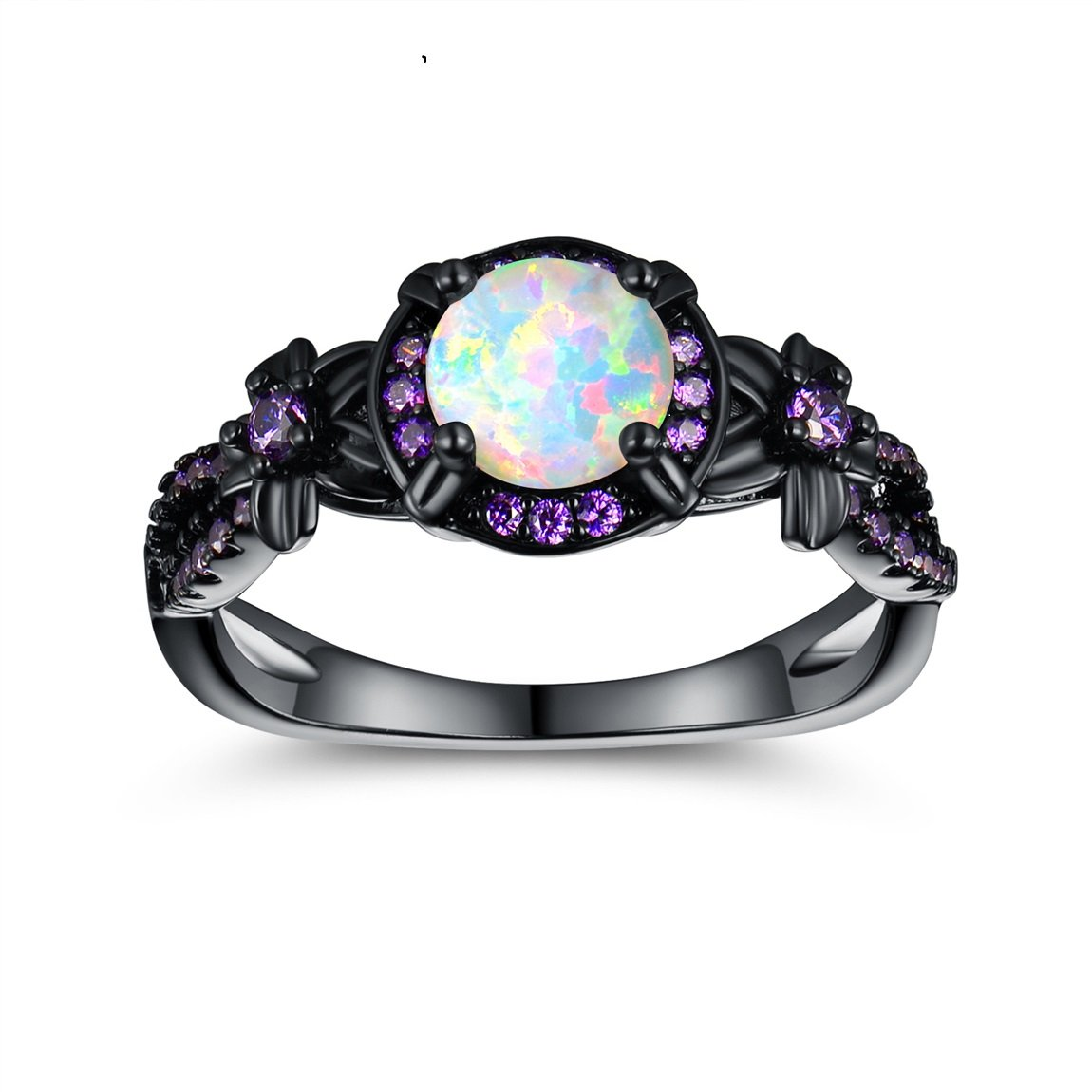 OPALTOP Black Gun Plated 6.5MM Round White Opal Created Amethyst Ring Band (8)