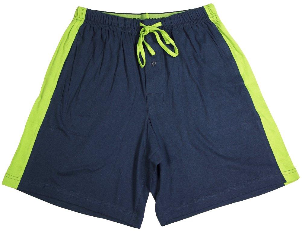 Hanes - Mens Jersey Knit Pajama Sleep Short, Navy, Lime 40048-Large