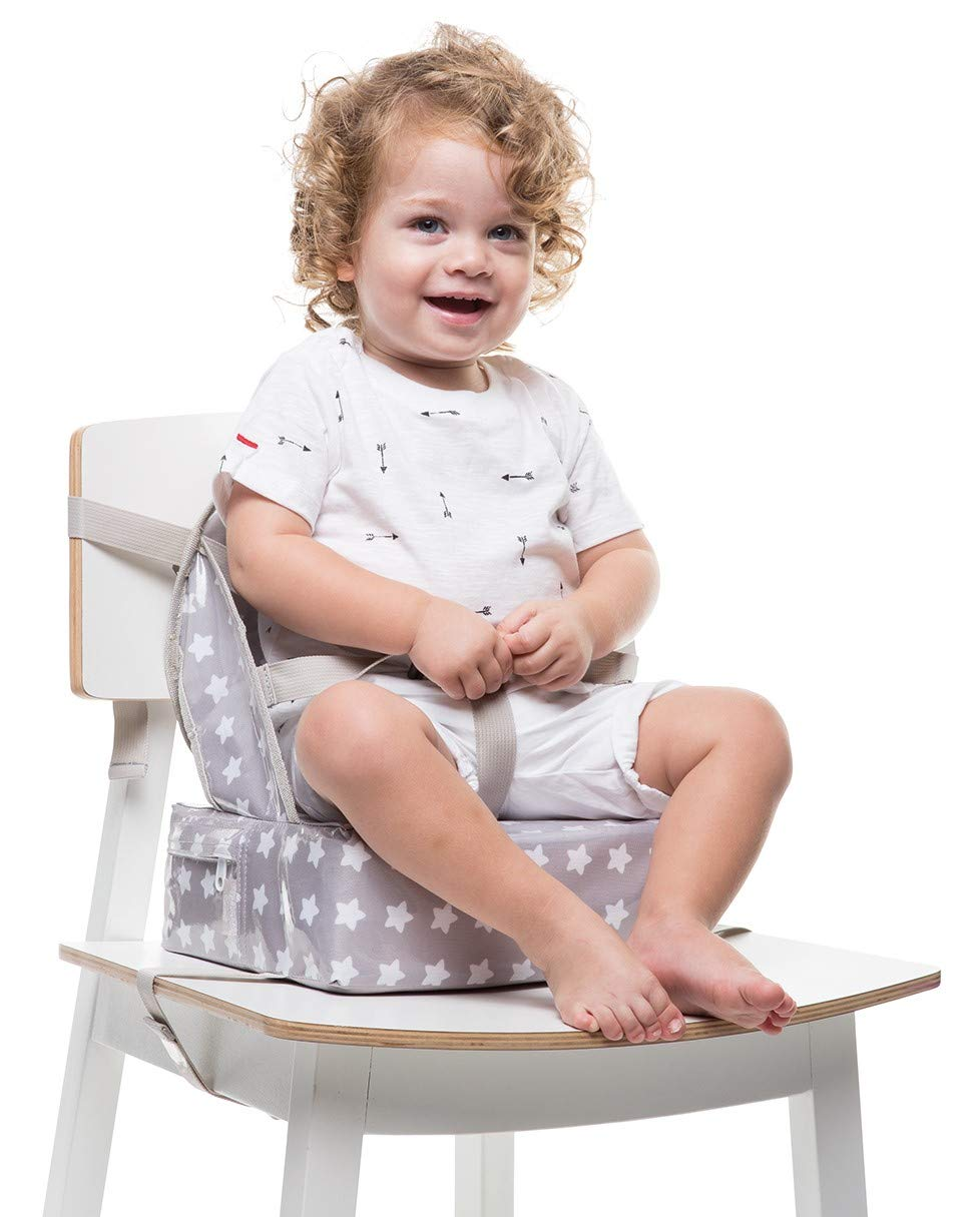 Baby-To-Love Easy Up, Portable Baby Feeding Chair Cushion and Booster Seat for Toddler (White Stars)