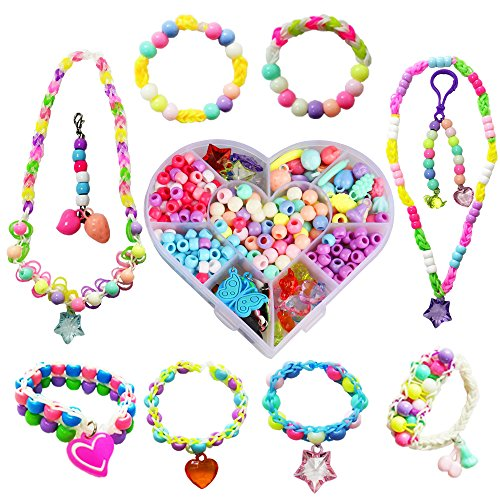 NEFUTRY Charms for Rainbow Looms Band Bracelets and Colorful Loom Beads-50 Charms and 260 Beads (Plastic Charm Bracelets)