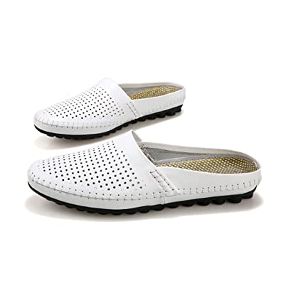 SUNROLAN Mens Summer Breathable Leather Slip On Open Back Slipper Loafer Mules Style Flats Shoes  B01F9XKQ2Y