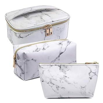 Amazon.com: Juego de 3 bolsas de maquillaje de mármol, bolsa ...
