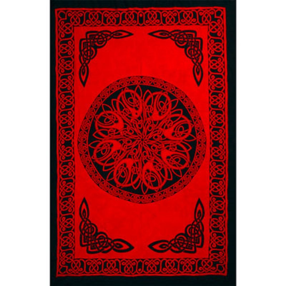 Rayon Sarong Celtic Knot Red