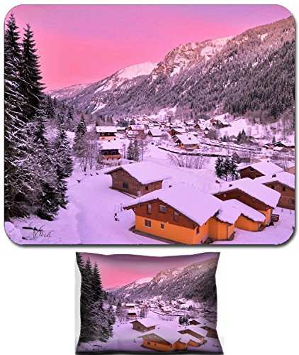 France Porte - Liili Mouse Wrist Rest and Small Mousepad Set, 2pc Wrist Support IMAGE ID: 20308655 Cityscape of the town of Chatel in the Portes du Soleil in France on a pink morning HDR