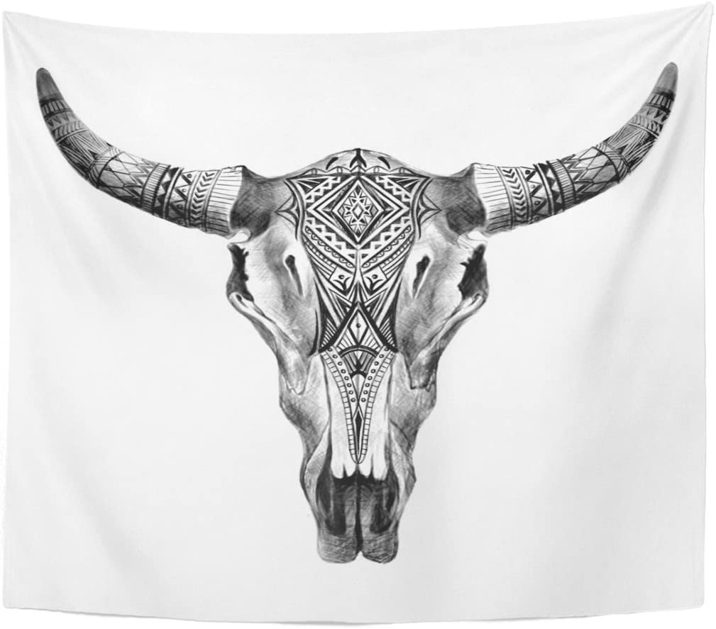 Emvency Tapestry Bull Aztec Longhorn Skull Cow Tribal Western Animals Home Decor Wall Hanging for Living Room Bedroom Dorm 50x60 inches