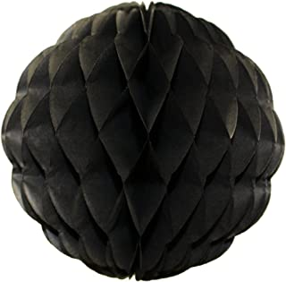 product image for 3-Pack 8 Inch Honeycomb Scalloped Tissue Ball Party Decoration (Black)