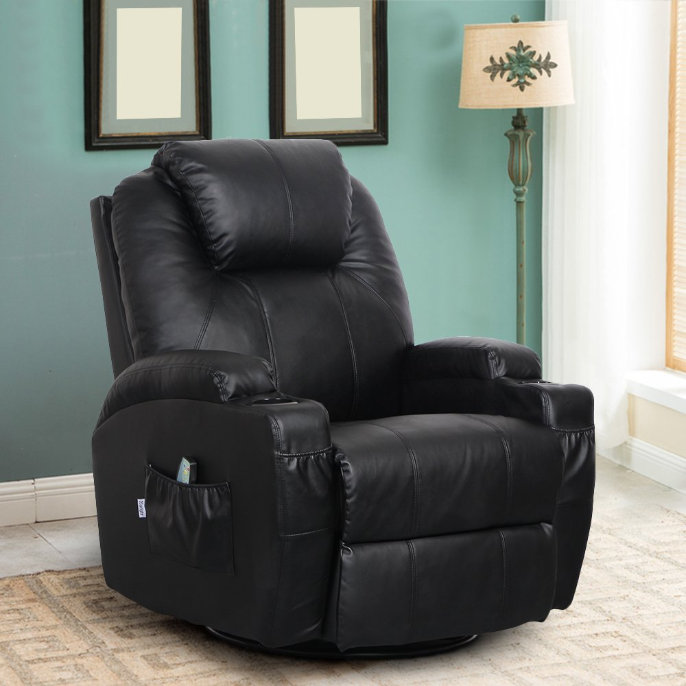 Esright Massage Recliner PU Leather Ergonomic Lounge Heated Chair 360 Degree Swivel Recliner