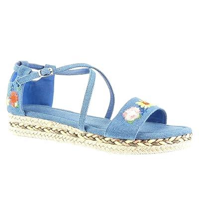 Angkorly Chaussure Mode Sandale Espadrille Plateforme Lanière Cheville Femme brodé Fleurs Lanières Croisées Talon compensé Plateforme 3.5 CM