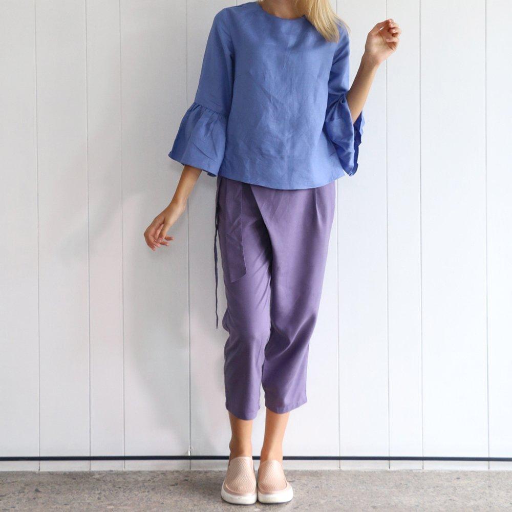 Linen purple wrap pants/handmade