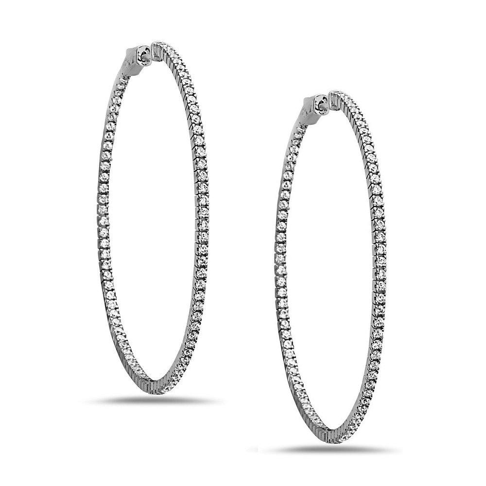 925 Sterling Silver Women's Crystal Hoop Earrings, 50mm