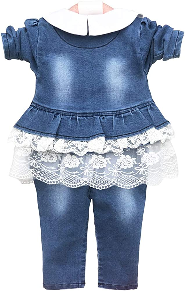 Leisure Spring Trend 3 Pieces Sets T-Shirt/&Cowgirl Suit White,2-3Y