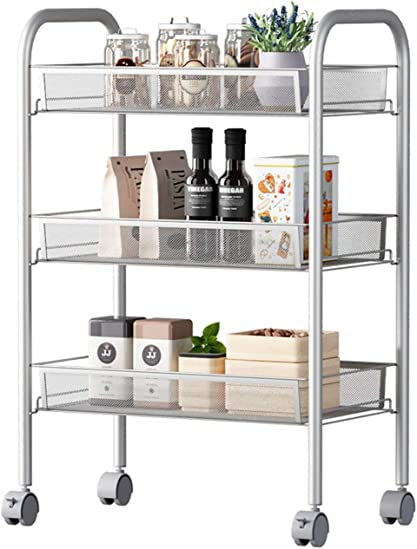 3-Tiers Utility-Rolling-Cart Trolley Stainless Steel Shelf-Organizer