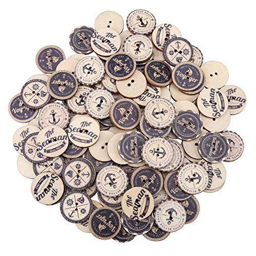 100 Pcs Round Wooden Buttons, 2 Holes Sea Anchor Buttons, Wood Antique Buttons, Vintage Unfinished Wooden Buttons for Sewing Fasteners Scrapbooking and DIY Craft (Antique Button Small)