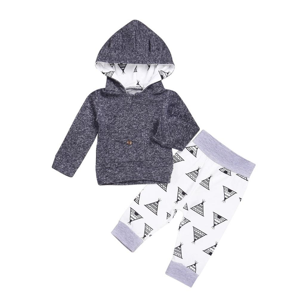 FORESTIME Newborn Infant Baby Boy Girl Print Hoodie Tops+Pants 2Pcs Outfit Clothes Set