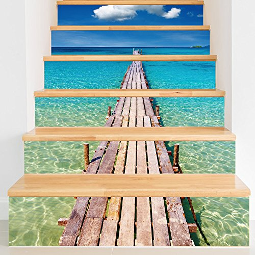 Funlife Decorative Stair Riser Decal - Stair Stickers Beach for ...