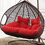 YEARLY Egg Nest Shaped Chair Cushions, Basket Cushion Wicker Rattan Swing Chair Pads Hanging Hammock 2 Persons Seater Zipper Washable-red 140x110cm(55x43inch)