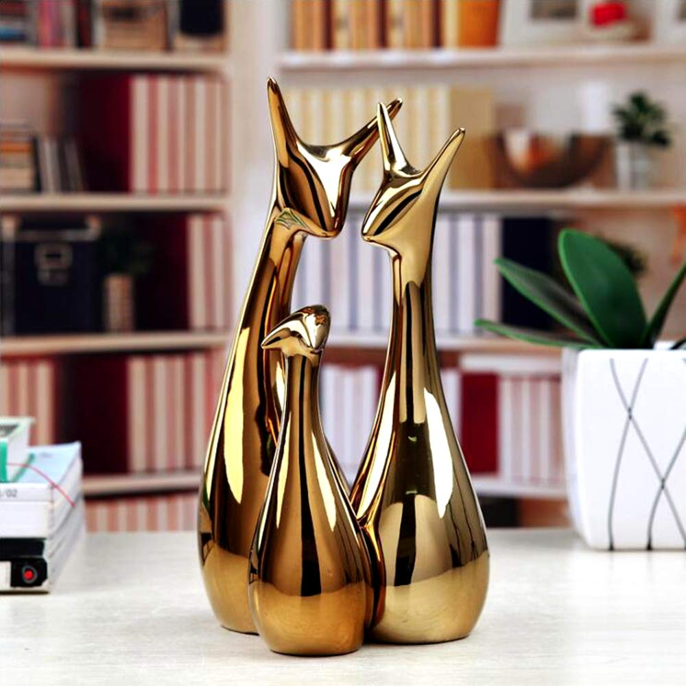 ,Electroplated Polished Silver Ceramic Decoration Animals Crafts Ornaments Home Decor TDRFORCE Deer Family Figurines Porcelain Sculptures Statues Set of 3