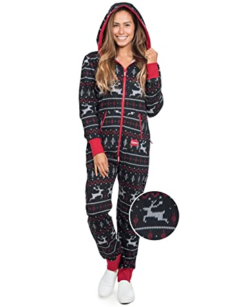 e7a5b3373 Tipsy Elves Black and Red Fair Isle Reindeer Jumpsuit - Ugly Christmas  Sweater Party Adult Onesie