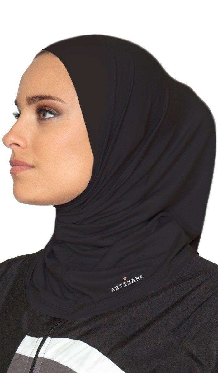 One Piece Stretch Sports Hijab - Black