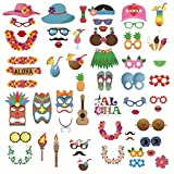 OOCC 60Pcs Hawaii Wedding Photo Booth Props Kit,for Wedding,Bachelorette,Engagement,Birthday,Bridal Shower,Holiday,Christmas Party Decorations/Bonus: 1* Golden Glitter Banner