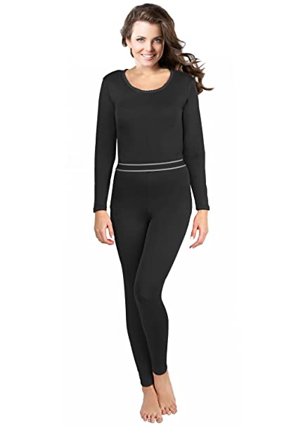 ca4b6a2a1ceb80 Rocky Women's 2 pc Ultra Soft Thermal Underwear, Top & Bottom Fleece Lined Long  Johns