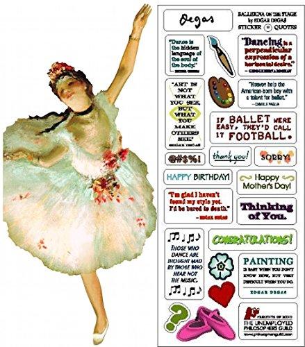 Card Flat Ballerina (Degas Ballerina Quotable Notable - Die Cut Silhouette Greeting Card and Sticker Sheet)