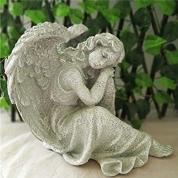Figura Decorativa para jardín Ángel Hermoso De Resina Impermeable Del Paisaje Del Jardín De La Estatua Por Césped De La Yarda Artesanía Decoración De Regalos - 21 * 20 * 23cm Grey: