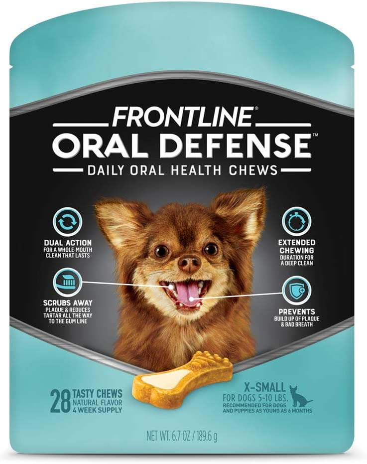 Frontline Oral Defense Daily Oral Health Dental Dog Treats for Small Dogs 10-25 lbs