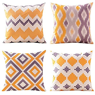 WOMHOPE Set of 4 Geometric Throw Pillow Covers Pillowcases Cushion Covers Decorative Throw Pillow Case Cotton Linen for Sofa,Bed 18 x 18 Inch