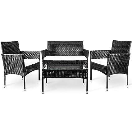 Amazon.com: Simply-Me - Juego de 4 muebles de ratán para ...
