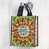 Set of 3 of Recycled Bags - Happy Birthday Green Flower - Medium