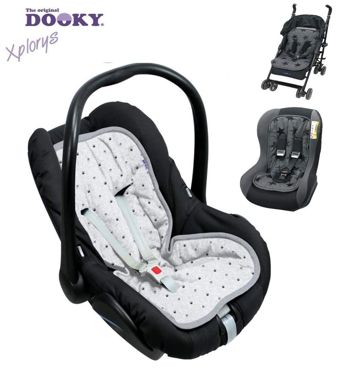 Original dooky 4in1–MultiSeat * * comodidad Asiento/Asiento para * * universal para portabebés, asiento de coche, por ejemplo para maxi-cosi, para carrito, Buggy, balancín, Trona etc. gris Grey Crowns Talla:ca. 70x35cm The Original Dooky by XPlorys