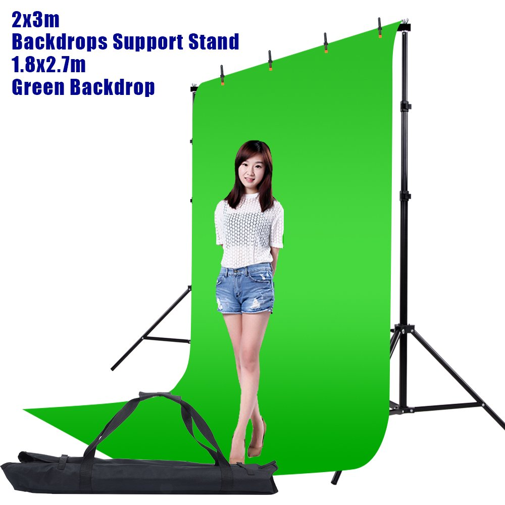 Hakutatz 6x9FT/1.8x2.7M Photo Studio Green Chromakey Muslin Backdrop + Clamp, Carrying Bag + 6.7x10FT/2x3M Adjustable Video Studio Background Support Stand Kit by Hakutatz