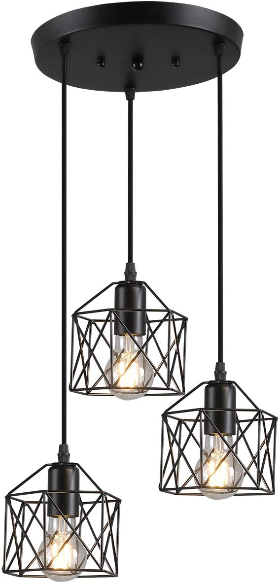 Pendant Light with Cage Shade Matte Black 3-Lights Adjustable Hanging Lighting Fixture, Industrial Antique Traditional Pendant Lamp for Home, Kitchen Island, Dining Room, Foyer, Farmhouse,Hallway