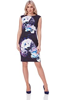 1b73a357b1 Roman Originals Womens Purple Floral Printed Jersey Pleated Bodycon Dress