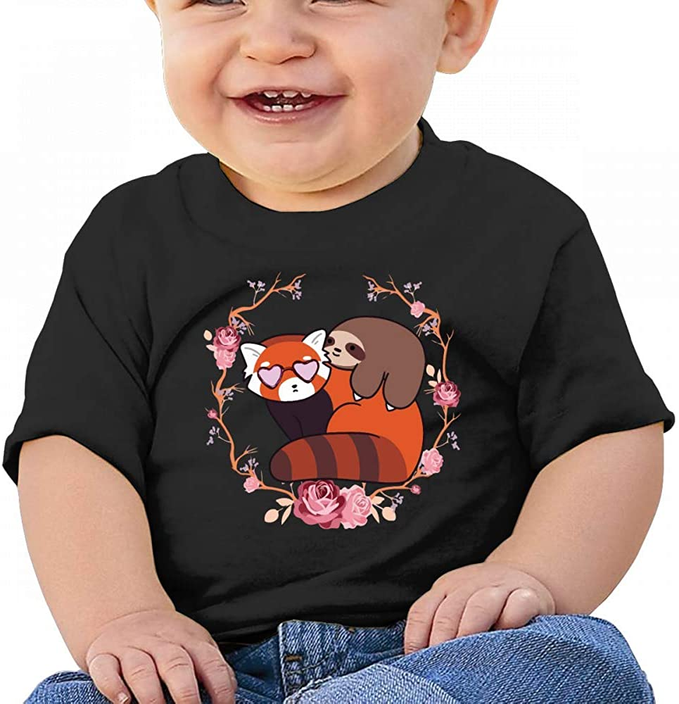 Cool Sloth and Red Panda Flower Baby Boys Toddler Short Sleeve T-Shirts Tees