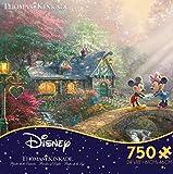 Ceaco Thomas Kinkade the Disney Collection-Mickey and Minnie Sweetheart Bridge Jigsaw Puzzle (750 Piece)