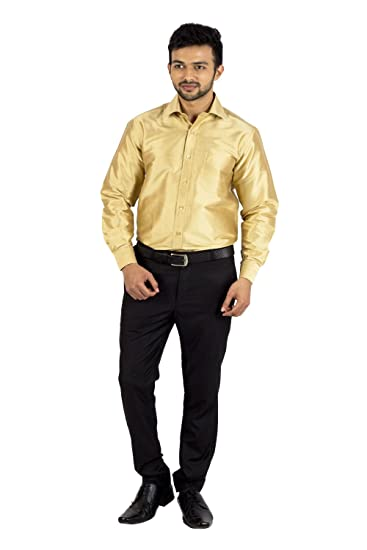 699a51e3f99a3 Khoday Williams Men s Slub Less Dupion Pure Silk Gold Colour Full Hand s  Shirt (Size