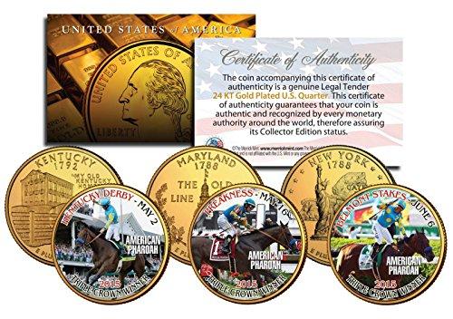 - AMERICAN PHAROAH 2015 TRIPLE CROWN WINNER 24KT GOLD STATEHOOD 3