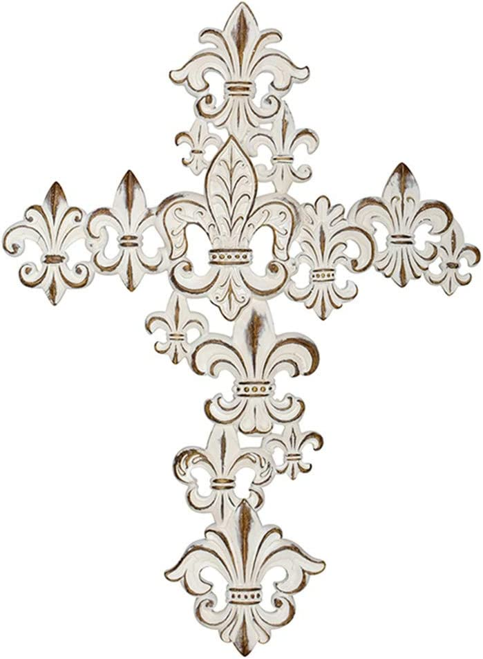 Carson 14185 14 Inches High Multi Fleur De Lis Wall Cross, White