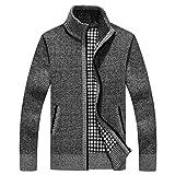 Shengweiao Men's Zip Knitted Cardigan Sweater (Medium, Light Grey)