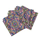 Roostery Aztec Organic Sateen Dinner Napkins Aztec Mirror Neon by Chulabird Set of 4 Cotton Dinner Napkins Made