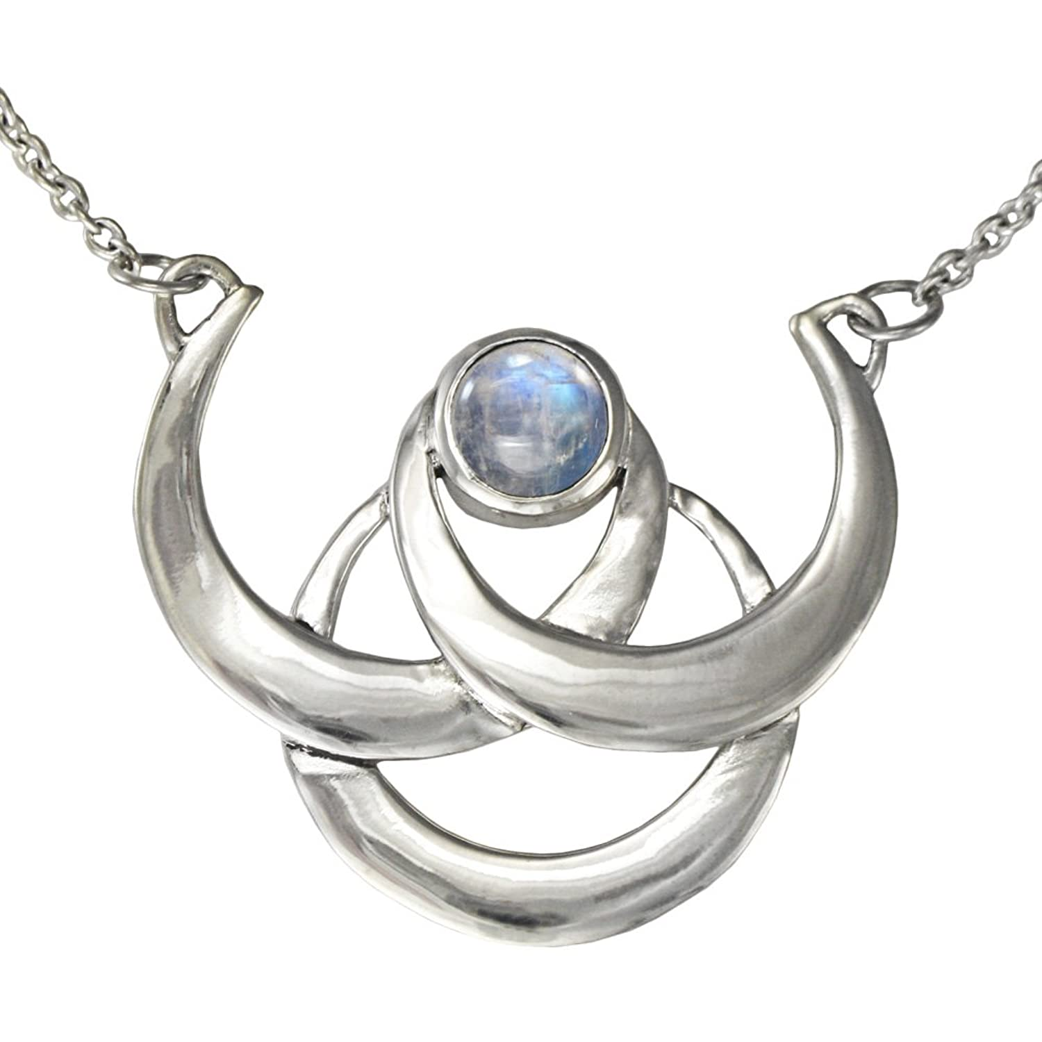 Amazon sterling silver triple crescent moon goddess necklace amazon sterling silver triple crescent moon goddess necklace with rainbow moonstone 18 inches long jewelry aloadofball Images